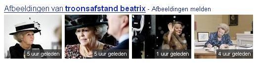 Universal Search resultaten foto's koningin Beatrix