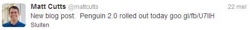Matt Cutts bevestigt via Twitter de uitrol van Penguin 2.0
