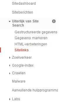 Sitelinks degraderen in Google Webmaster Tools