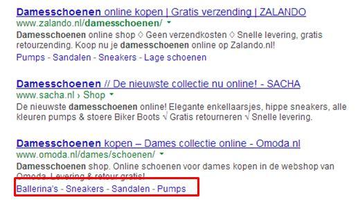 Sitelinks ook getoond op andere plekken in SERP