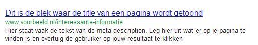 voorbeeld van een zoekresultaat