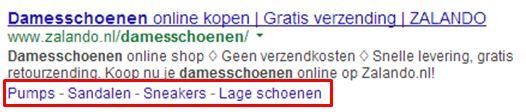 Sitelinks in google