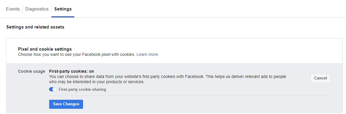 Facebook pixel settings